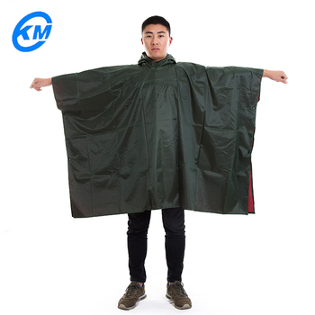Poncho de lluvia cuadrado de tela OXFORD verde militar cómodo de llevar y resistente al agua para acampar al aire libre o motocicleta con un precio barato