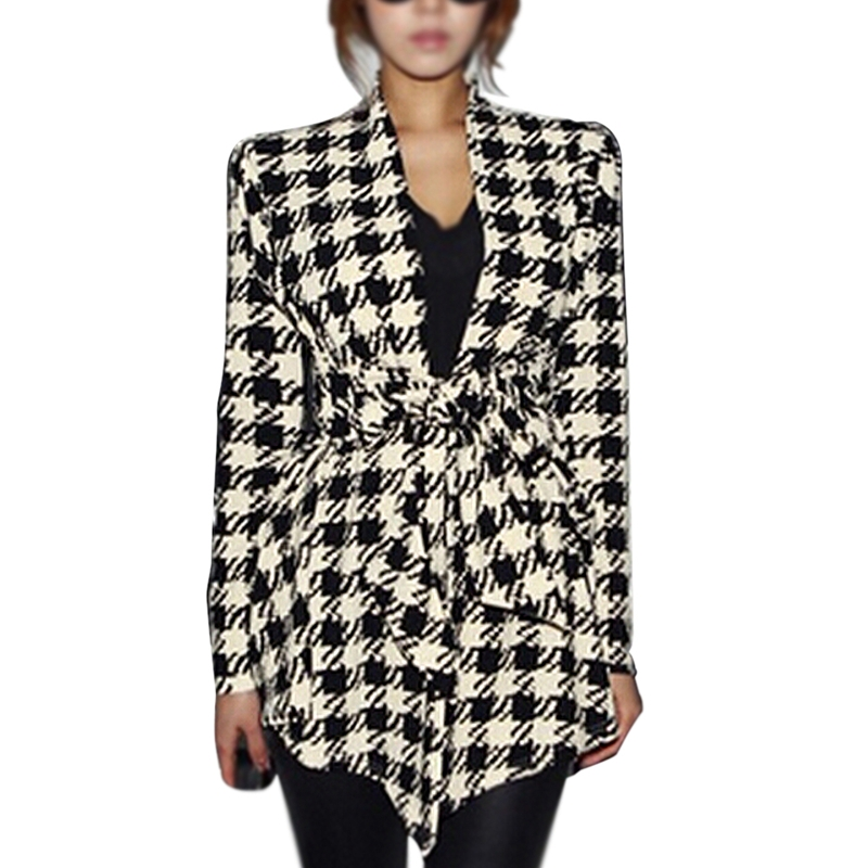 Coat Jacket Cardigan Peplum Houndstooth Belt Spring Long-Sleeve Fashion Women's Slim