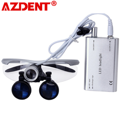 3.5X Magnification Binocular Dental Loupe Surgery Surgical Magnifier with Headlight LED Light Medical Operation Loupe Lamp