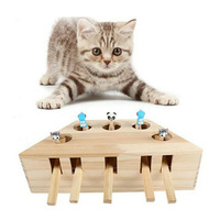 Whack Mole Mouse Cat Exercise Toy Solid Wooden Puzzle Box with 3/5 Holes Pet Toys E2S