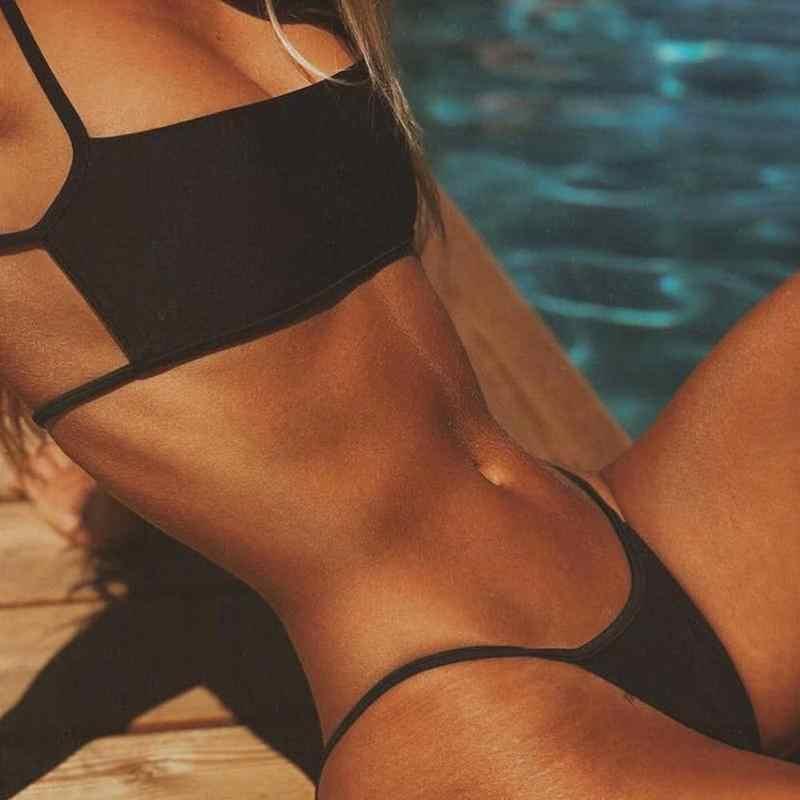 2020 Sexy Bikini Pak Lace-Up Bh Lage Taille Onderbroek Set Vrouwen Strand Set Stuk Badpak 2 Zomer D6W3