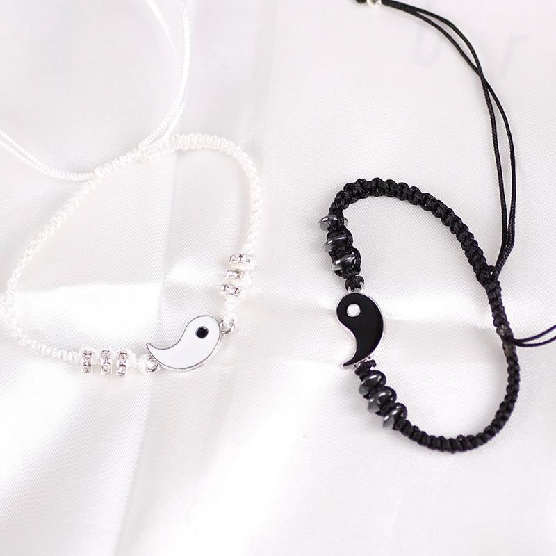 Модный браслет в китайском стиле для пар, аксессуары из сплава тай-чи в стиле ретро, ручная работа, плетеная веревка, бижутерия дружбы лучшег...