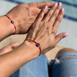 couples Lucky Eye Blue Evil Eye Charms Bracelet Red String Thread Rope Couple Bracelet Wish Card Jewelry For Women Men bracelet