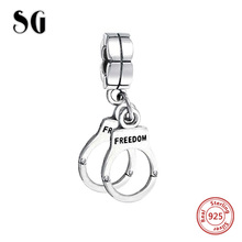 SG New Charms Bead 100% Authentic 925 Sterling Silver Handcuffs DIY Beads Fit Pandora Original Bracelet Women Fashion Jewelry