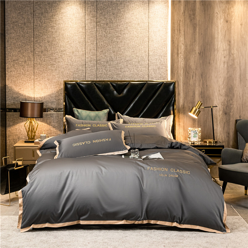 OLOEY Long-staple cotton bedding set Egyptian luxury Embroidered quilt cover duvet cover bed sheet pillowcases fitted sheet
