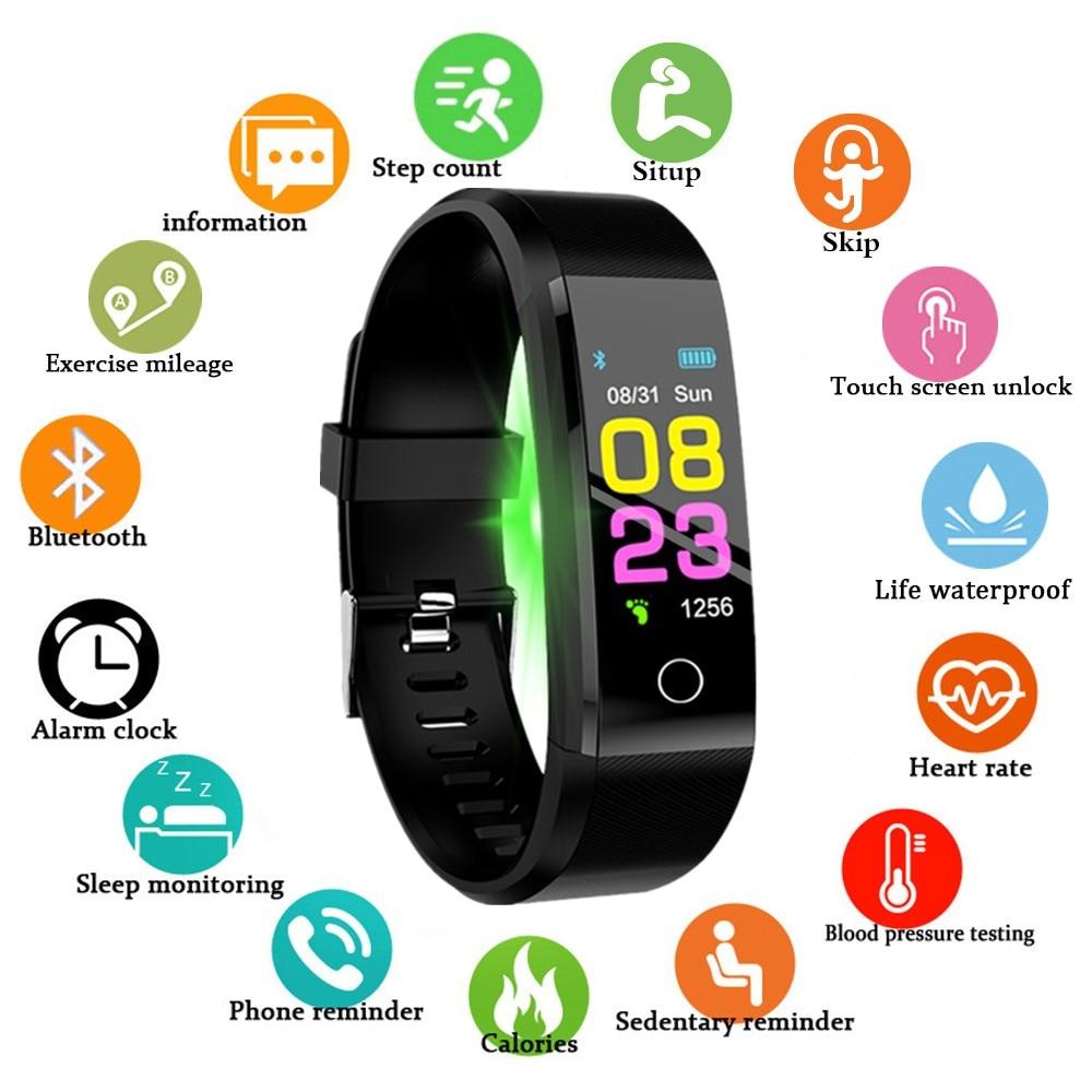 Novo relógio inteligente das mulheres dos homens monitor de freqüência cardíaca pressão arterial fitness rastreador smartwatch esporte relógio para ios android + caixa