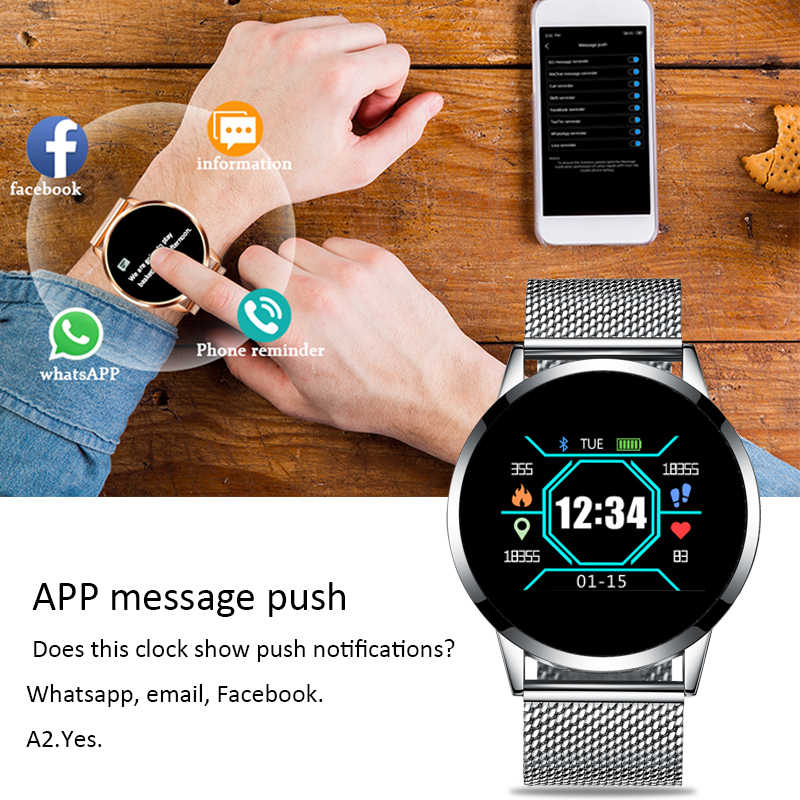 2019 lige inteligente relógio de saúde das mulheres dos homens monitor de freqüência cardíaca pressão arterial pulseira pedômetro relógio de fitness esportes + caixa