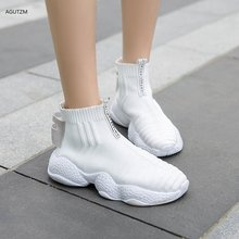 New 2019  autumn Women Sneakers Fashion Breathable Mesh Casual Shoes Platform Sneakers For Women white Sock Sneakers z278 crystal sneakers women sneakers with crystals women sock sneakers fashion sneakers women boots sneakers women wk85