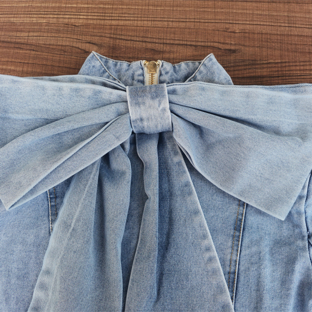 TWOTWINSTYLE Patchwork Bow Denim Women's Jacket Stand Collar Long Sleeve Vintage Ruched Jackets For Female Fashion Clothing 2