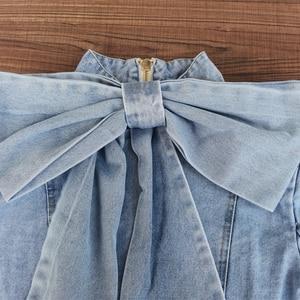 Image 3 - Twotwinstyleパッチワーク弓デニム女性のジャケットスタンド襟長袖ヴィンテージシャーリングジャケット女性のための2020ファッション服
