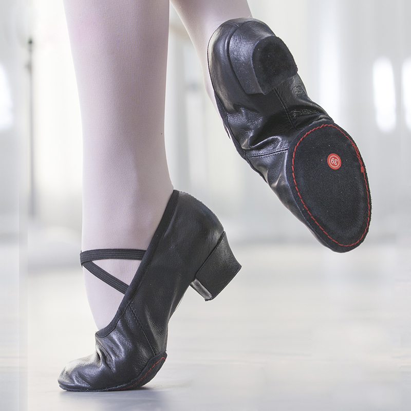 Natural Leather Ballet Dancing Shoes Women Middle Heel Girls Jazz Dance Shoes Belly Yoga Shoes Teachers's Shoes Children Adult