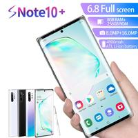 Global version Note10+ 6.5 inch Smart phone Android 9.0 4800mah 8+16MP 10 core Triple Back Camera Phone Send mobile phone case