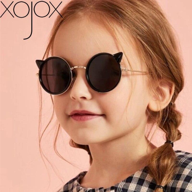 XojoX Children Cat Ear Sunglasses Cute Cartoon Round Kids Glasses For Girls Eyewear Outdoor UV400 Goggles