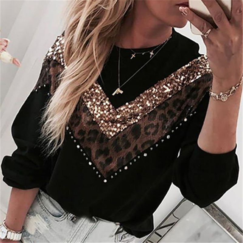 Autumn Leopard Sequined Women Sweatshirt Patchwork Beading Long Sleeve Female Hoodies 2019 Casual Ladies Pullover Sweatshirts