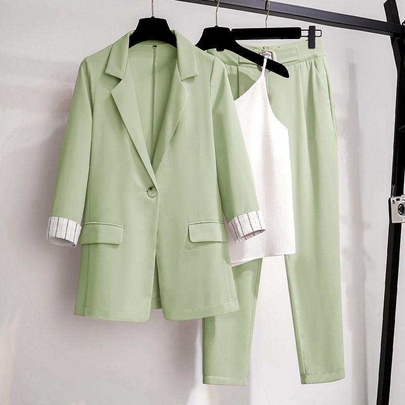 Women Blazer suit for Spring Autumn Lady Blazer Jacket +Long Pant Female Outerwear Elegant Ladies Coat Plus size M 4XL