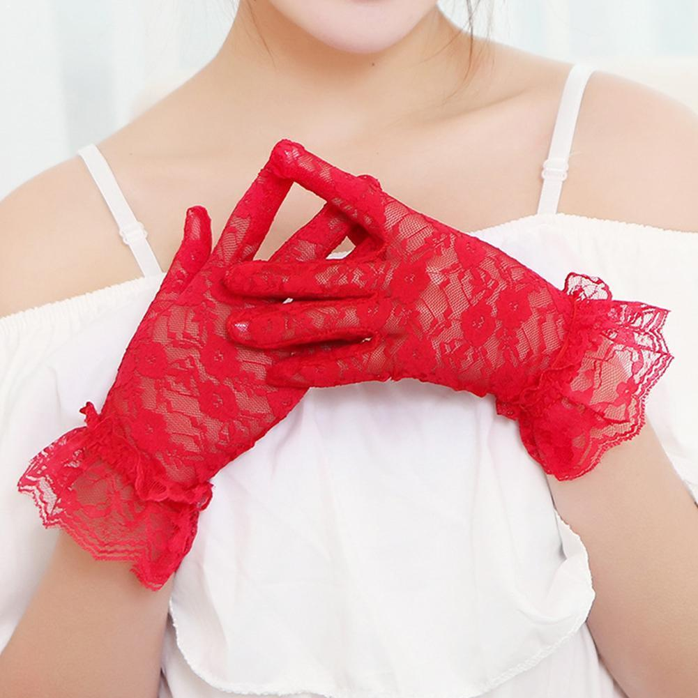 Fashion Sexy Lace Short Gloves Women Party Wedding Full Slim Summer Gloves Finger Sunscreen Gloves I7Y8