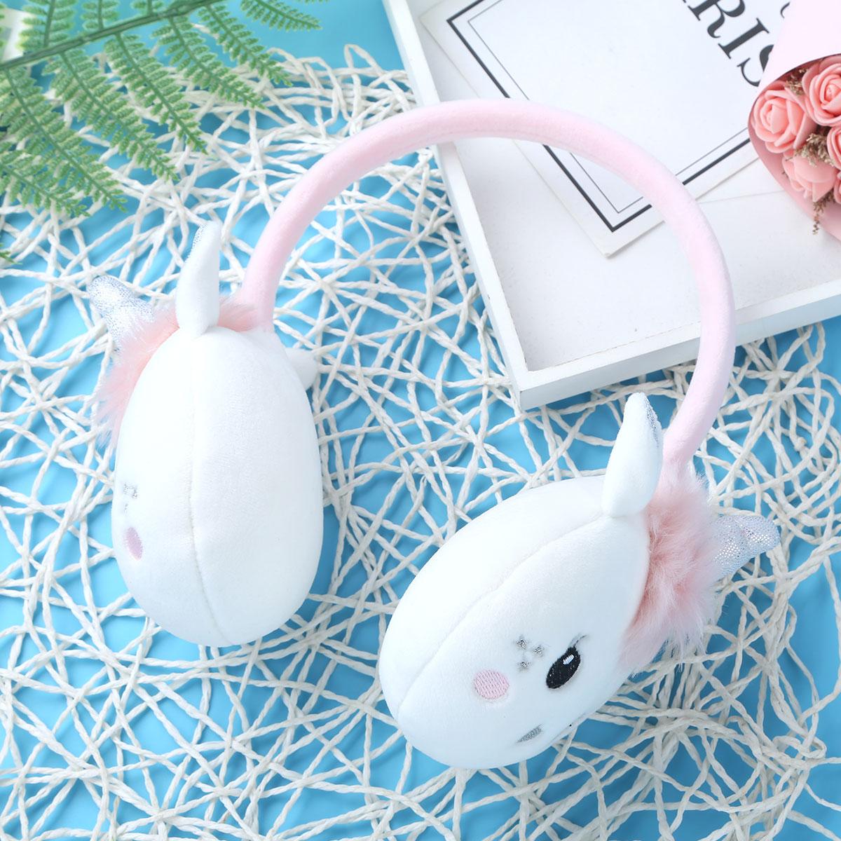 Earmuffs Kids Girls Winter Outdoor Sports Windproof Warm Cute Cartoon Animal Ears Horn Adjustable Earmuffs Ear Warmers Earflap