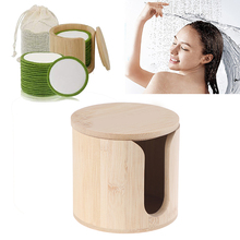 1 pc Wood Makeup Remover Cotton Pads Round Container Cosmetic Storage Organizer Box
