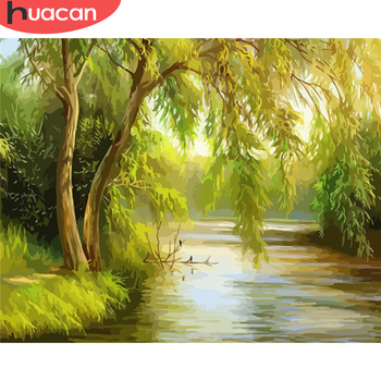 HUACAN Paint By Number Tree Drawing On Canvas Gift DIY Pictures By Numbers Landscape Kits Hand Painted Painting Art Home Decor