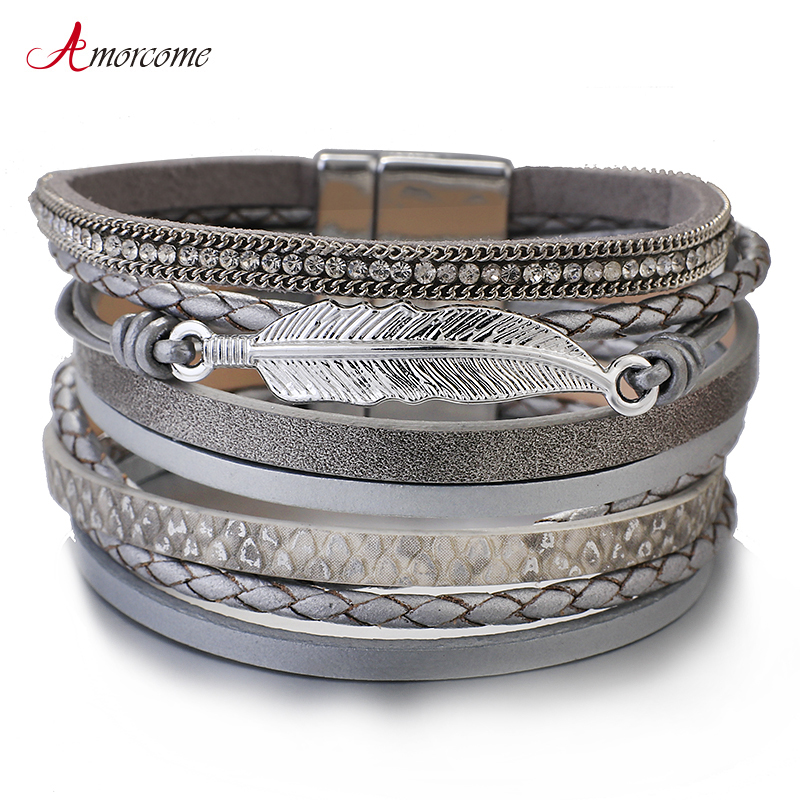 Amorcome Metal Feather Genuine Leather Bracelet For Women Jewelry Fashion Multilayer Bohemian Charm Wide Bracelets & Bangles