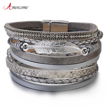 Amorcome Metal Feather Genuine Leather Bracelet for Women Jewelry Fashion Multilayer Bohemian Charm Wide Bracelets & Bangles amorcome metal feather genuine leather bracelet for women jewelry fashion multilayer bohemian charm wide bracelets