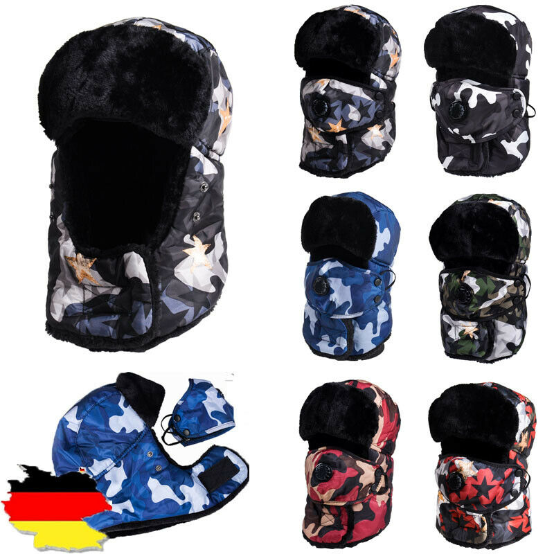 Fashion Winter Warmer Windproof Earmuffs Padded Flat Sport 2019 Thicken Unisex Snow Cap Hat