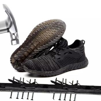 Męskie buty ze stali Toe buty robocze bhp na co dzień oddychające tenisówki na świeżym powietrzu odporne na przebicie buty wygodne przemysłowe buty na zimę tanie i dobre opinie xzmdh Pracy i bezpieczeństwa Mesh (air mesh) ANKLE Lace-up Pasuje prawda na wymiar weź swój normalny rozmiar Okrągły nosek