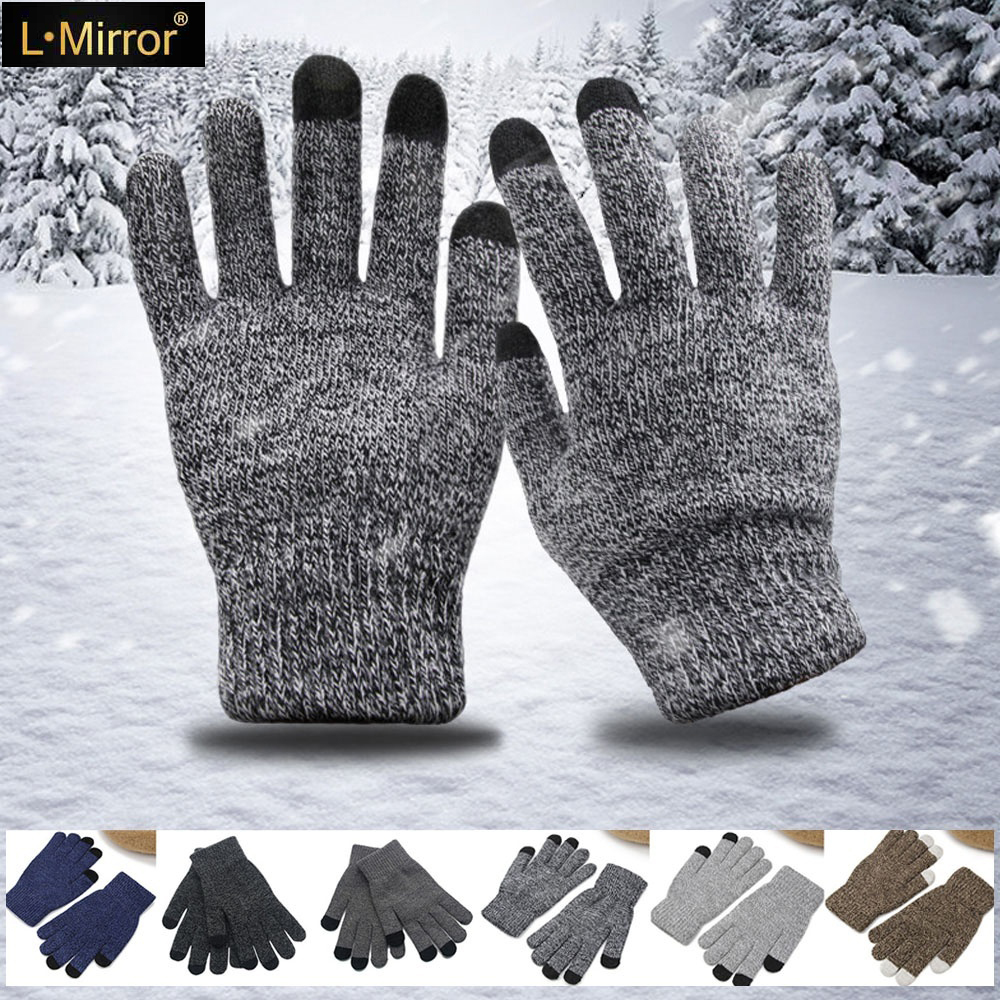 L.Mirror 1Pair Polar Sport Touch Screen Smartphone Gloves Brushed Interior For Comfort & Warmth Compatible For Universal Phones