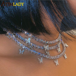 Image 2 - 2020 pink pinky drip 5mm cz butterfly charm tennis chain 32+10cm choker necklaces iced out bling hip hop cool rock women jewelry