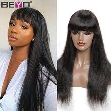 Straight Human Hair Wigs With Bangs 150% Density Brazilian H