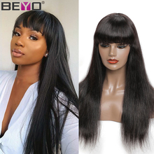 Straight Human Hair Wigs With Bangs 150%