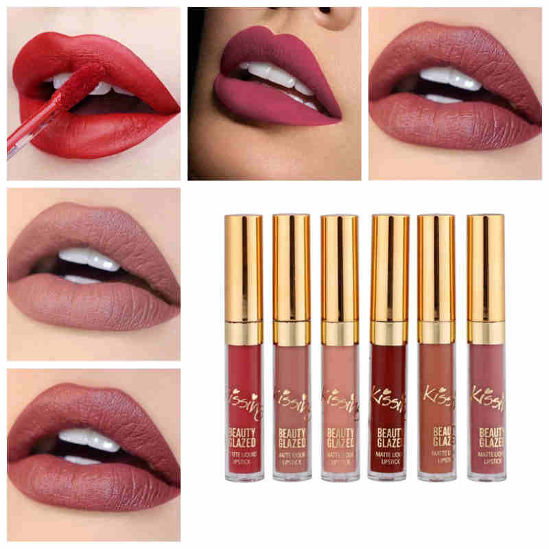 BEAUTY GLAZED 6pcs/Set Liquid Lipstick Lip Gloss Professional Makeup Matte Lipstick Lip Kit Long Lasting Cosmetics Maquiagem 4
