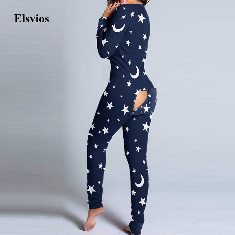 Christmas Sexy Deep V Neck Button Print Jumpsuit Autumn Hollow Out Cute Hip Playsuit Pajamas Women Long Sleeve Romper Sleepwear