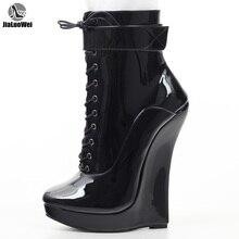 Jialuowei النساء مثير الوثن سوبر عالية 18 سنتيمتر سوبر إسفين كعب وأشار اصبع القدم سستة عبر تعادل الكاحل الباليه الأحذية زائد حجم