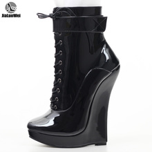 Jialuowei ผู้หญิงเซ็กซี่ Fetish Super สูง 18 ซม. Super Wedge Heel Pointed Toe ซิป Cross ผูกข้อเท้าบัลเล่ต์รองเท้า plus ขนาด