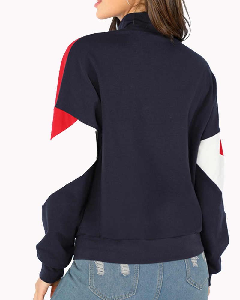 Baru Musim Gugur/Musim Dingin 2020 Wanita Hoodie Pullover Gaya Panas Patchwork Lengan Panjang Hoodies Wanita Fashion Zipper Wanita Hoodies