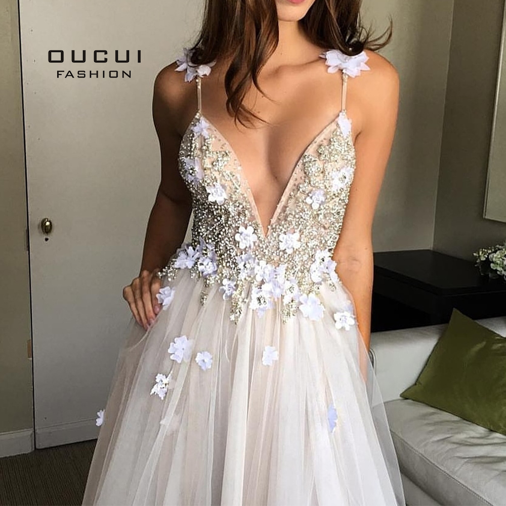 A-Line Deep V-neck Evening Dresses Long 2019 Robe De Soiree Floral Appliques Flower Prom Dress Tulle Vestido De Noiva OL103554
