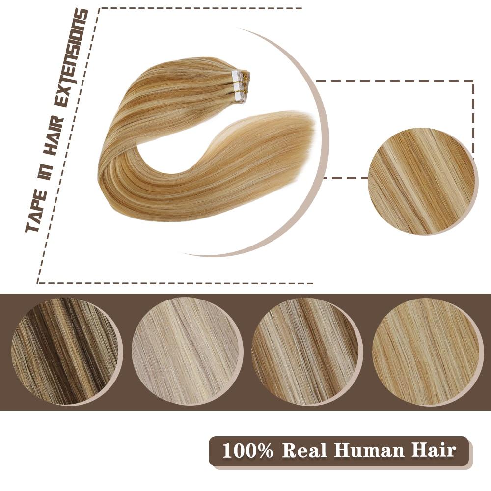 Cinta en extensiones de cabello, Color destacado, máquina de pelo de trama de piel de 14-24 pulgadas, cabello humano Remy, cinta de pelo liso Rubio
