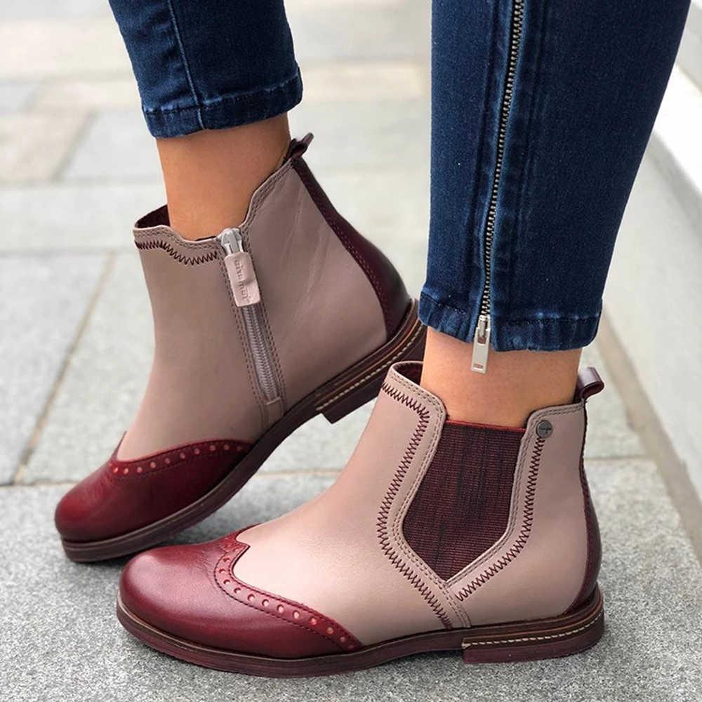 MoneRffi kadın Martin çizmeler sonbahar kış çizmeler klasik fermuar kar yarım çizmeler kış süet sıcak kürk peluş kadın ayakkabı