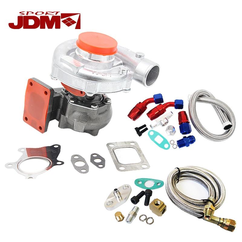 T3/T4 450HP t3t4 Ibrido turbocompressore turob caricatore T3 AR. 63 + OLIO di ALIMENTAZIONE + LINEA di SCARICO KIT