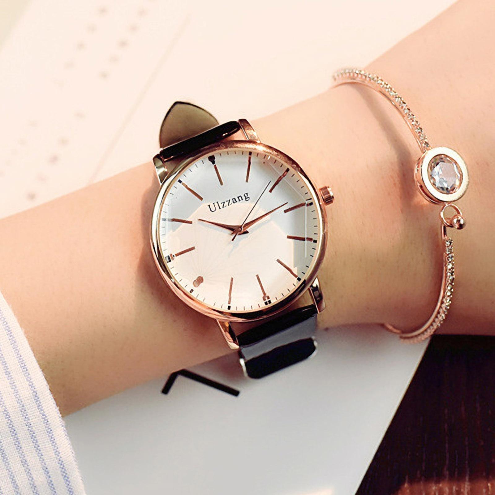 Women Watches Cute Polygonal Dial Fashion Rose Gold Dress Quartz  Ladies Watch Fine PU Leather Strap Wristwatch Xfcs Reloj Mujer