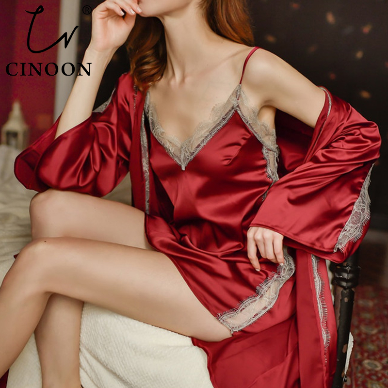 CINOON 3Pcs Sexy Women Silk Nightgown Embroidery Lace Bath Gown Nightdress Lace Trim Sleepwear Casual Home Robe With Belt