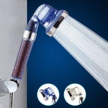 Shower Bath Head Adjustable 3 Mode High Pressure Stone Stream Handheld Shower Head With Negative Ion Activated Ceramic Balls