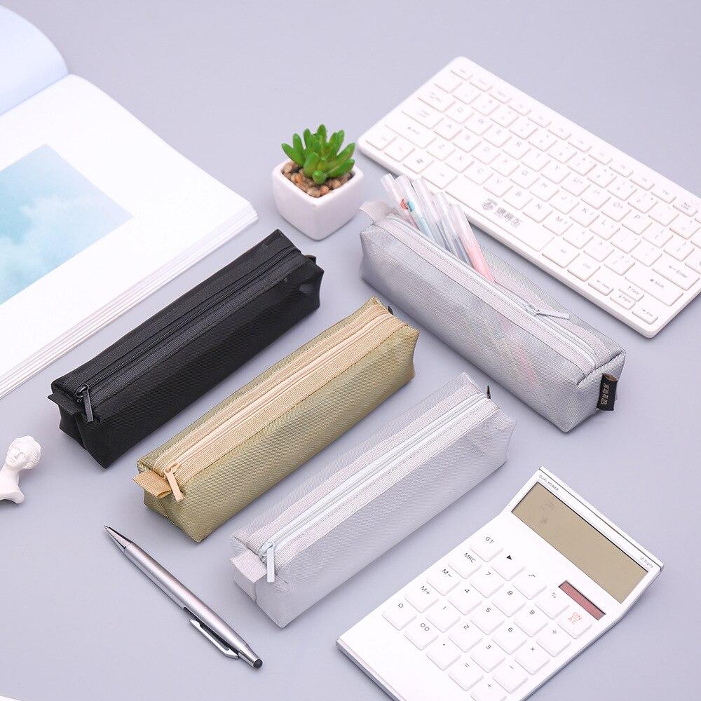 Simple Transparent Mesh Pencil Case Kawaii Nylon Pen Bag Box Stationery Pouch For Kids Gift Office School Supplies Zakka