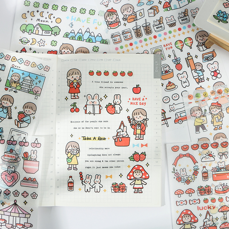 Mohamm 1 Sheets Cute Characters Scrapbooking Stickers Cartoon Paper Sticker Flakes Stationary Office Accessories Art Supplies