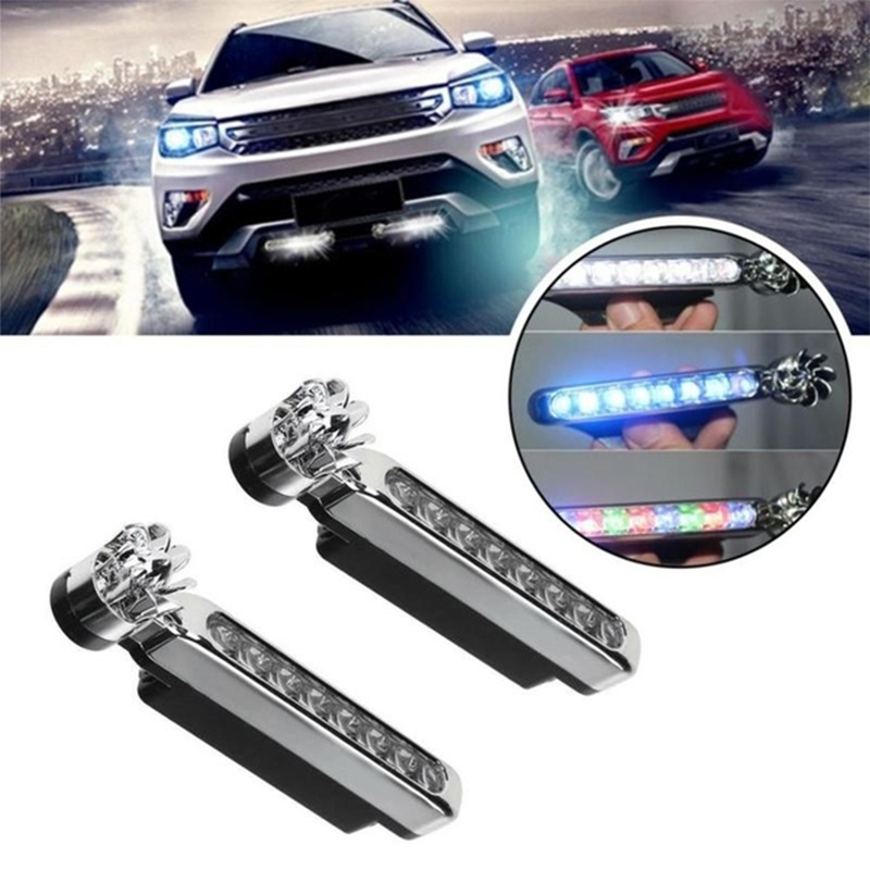1pc Wind Energy No Need External Power Supply Car Daytime Running Lights 8 LED DRL Daylight Headlight Lamp DRL