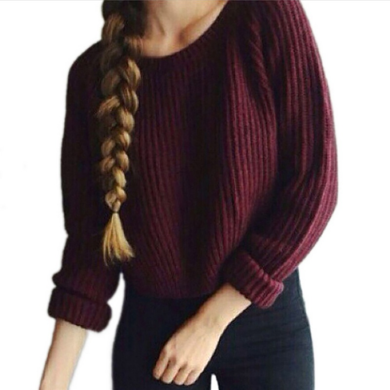 Autumn Winter Pullover Sweaters Femme 2019 Fashion Solid Knitted Sweater Round O Neck Long Sleeve Hem Slit Casual Sweaters