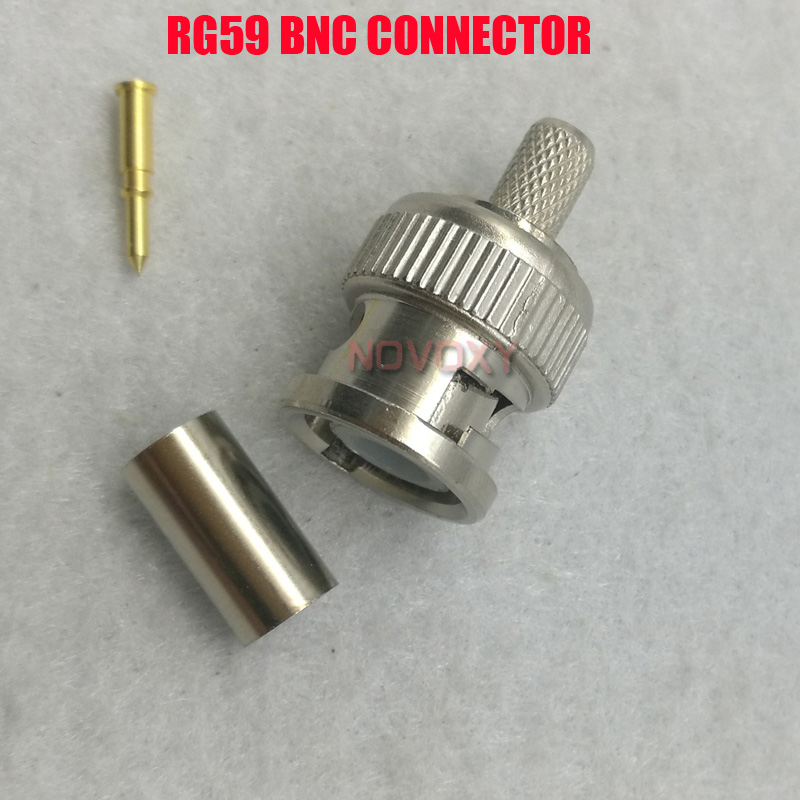 NOVOXY  BNC Male Crimp Plug For RG59 Coaxial Cable RG59 BNC Connector BNC Male 3-piece Crimp Connector Plugs  Freeshipping
