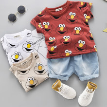 Baby Boys Clothing Sets Cute Summer T-Shirt Cartoon Children Boys Clothes Suit for Kids Outfit Denim Outfit Infant Boy Clothes(China)