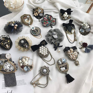 Pearl Brooch Jewelry Flowers Bow-Fabric Lapel-Pins Famous Luxury Women
